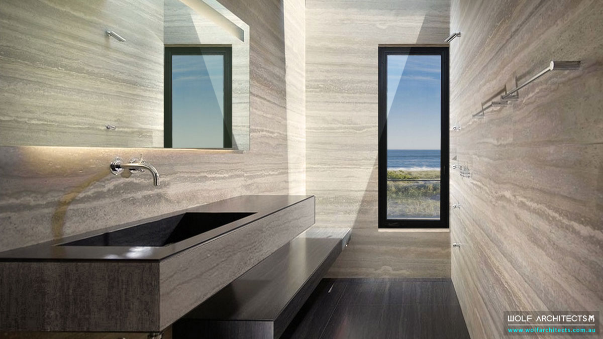The Contemporary Beach House Travertine Bathroom Walls