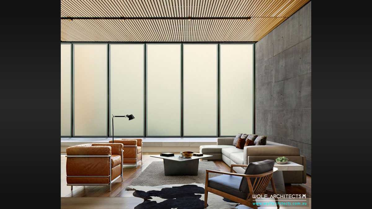 The Frosted Glass House Living Room