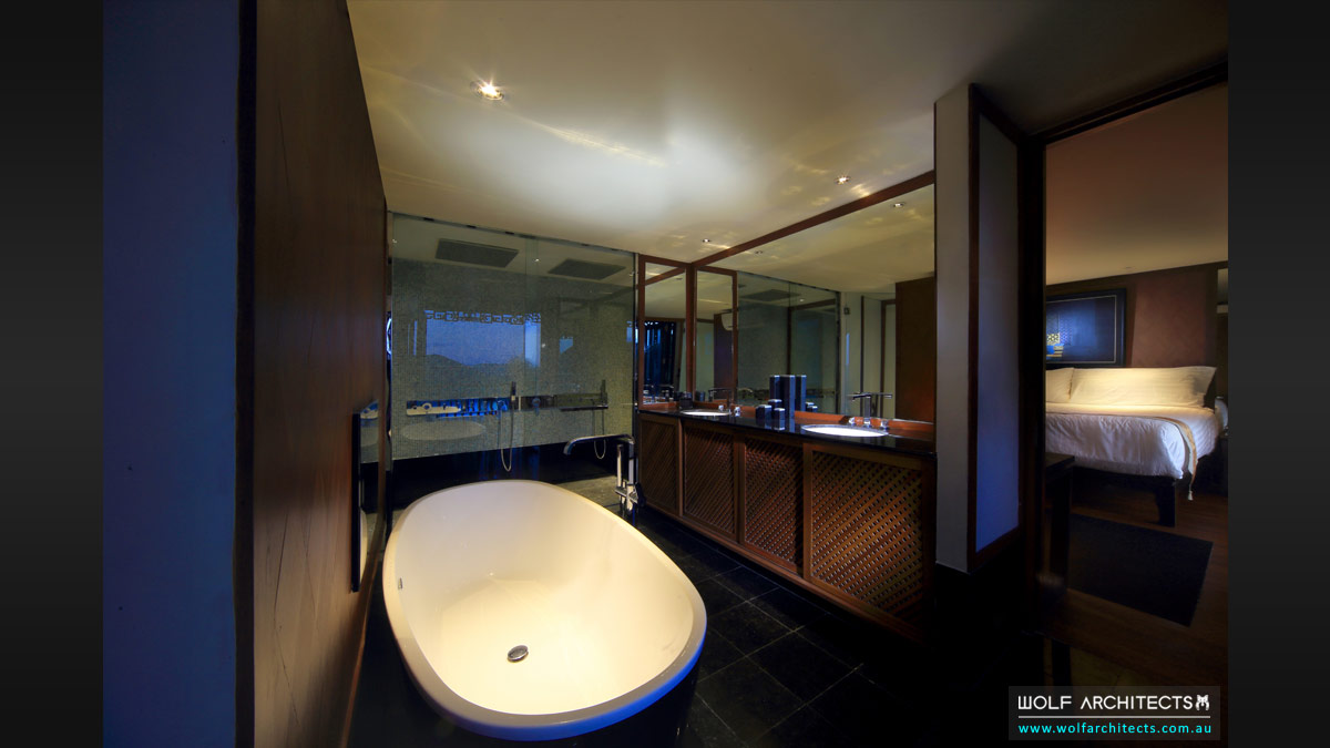 The Village House master bathroom and bedroom