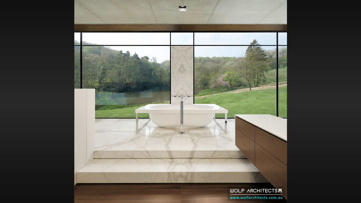 Parrish House ensuite bath with view of water
