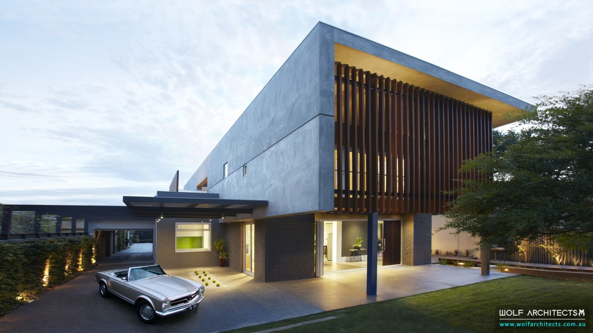 Award winning contemporary house driveway entrance and porch