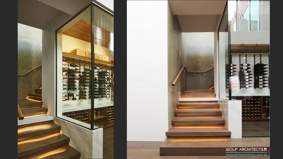 Modern Torquay beach home wine cellar