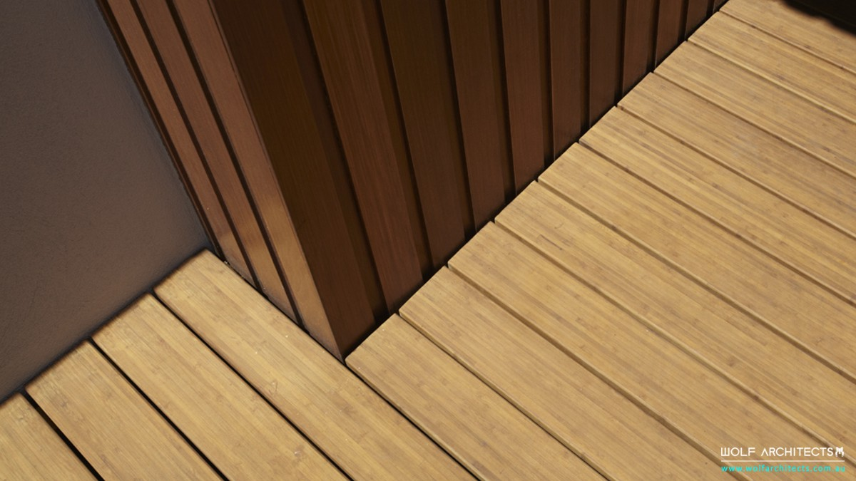 Modern Bangkok Frosted glass house bamboo decking