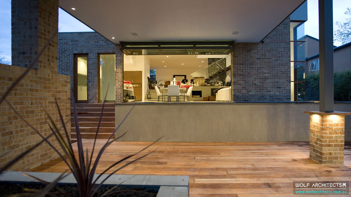 Three Dimensional House Outdoor Deck looking into dining area