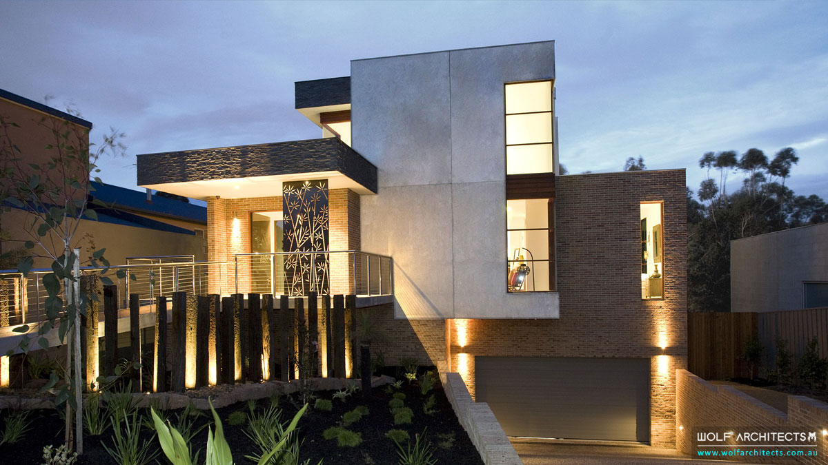 Three Dimensional House exterior in the evening