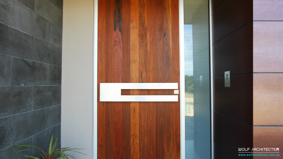 Modern Torquay beach home custom front door