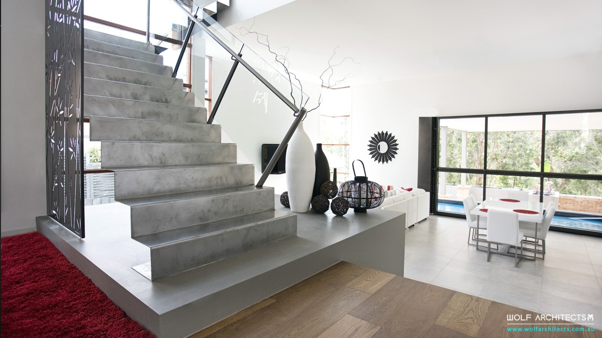 single sheet of steel metal stairs in modern house