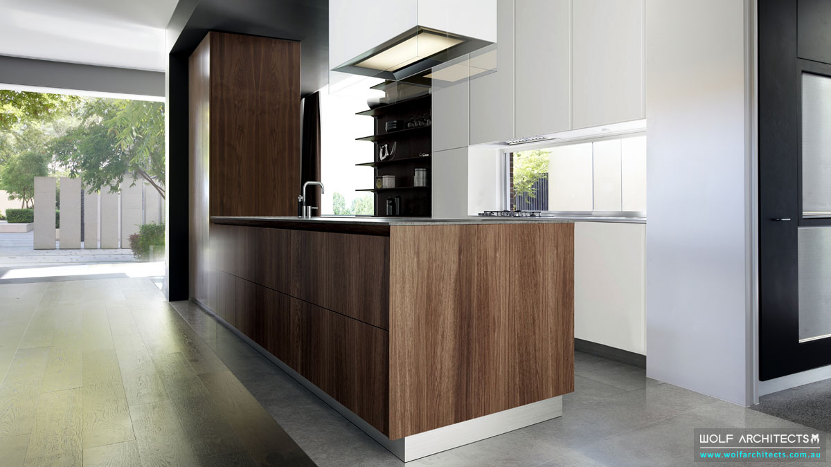 Open modern walnut veneered contemporary kitchen by Wolf Architects