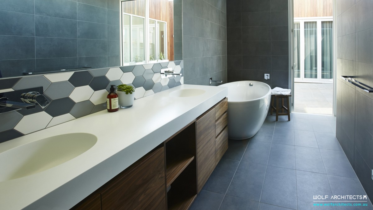 white block house modern bathroom