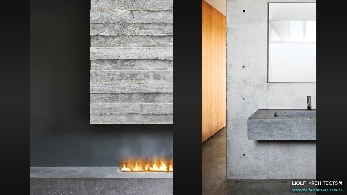 concrete house vanity and fire place