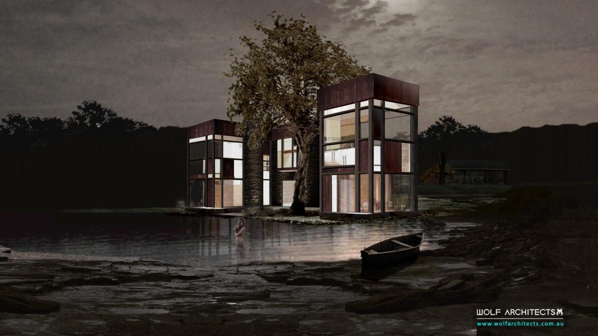 glass lake house