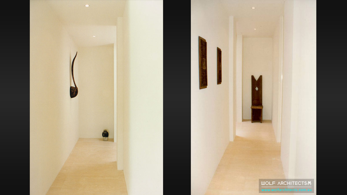 minimal toorak apartment hallway