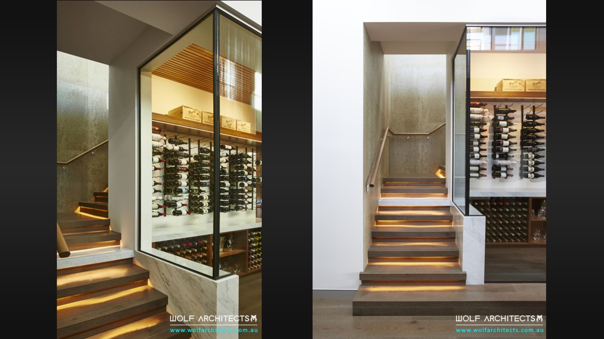 kruger house modern glass wine cellar