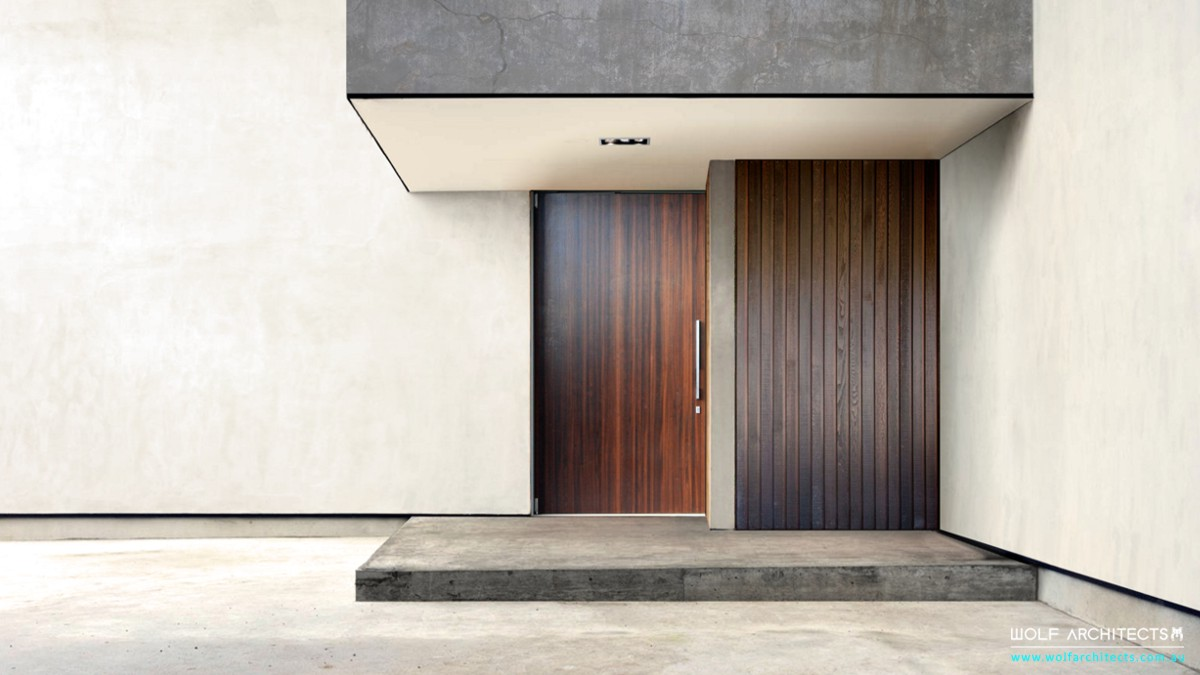 contemporary beach house modern front door entrance by Wolf Architects