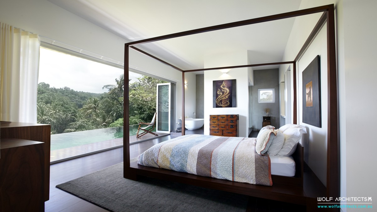Phuket resort tropical modern bedroom by Wolf Architects