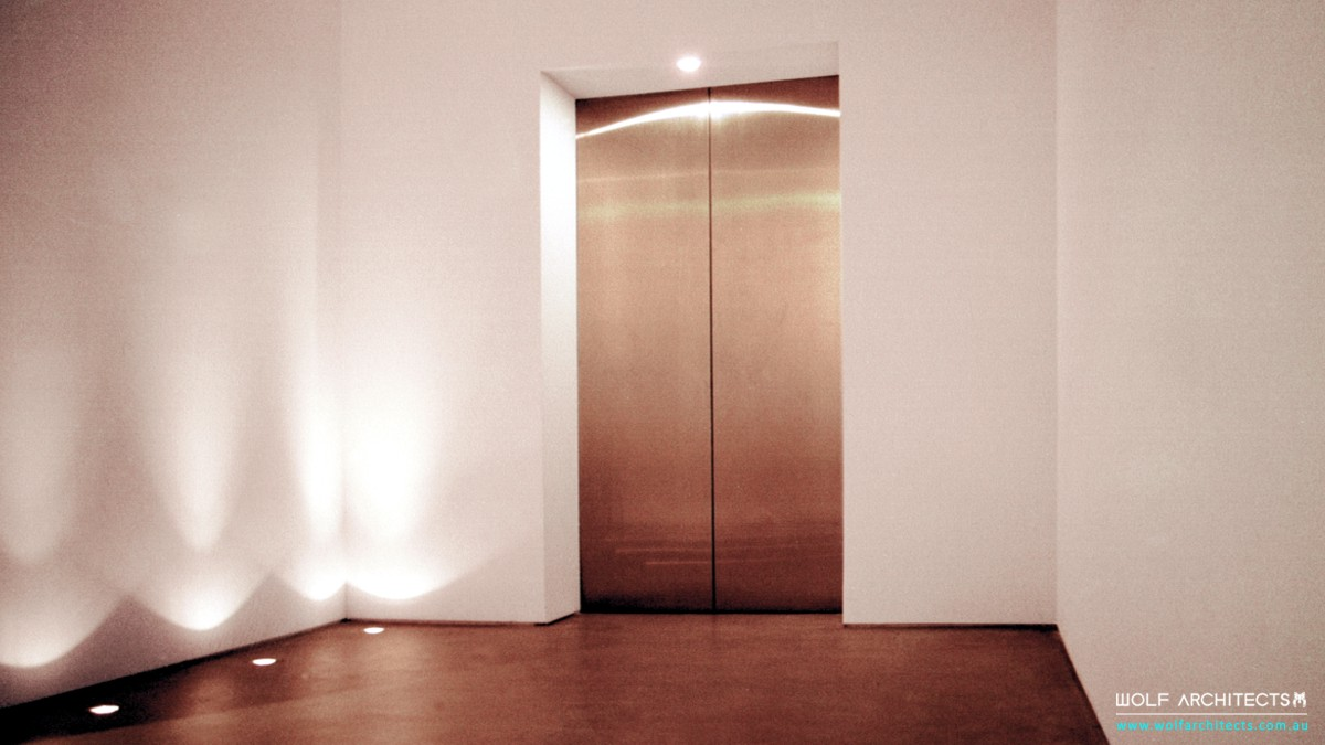 meditation centre minimalist lift foyer by Wolf Architects