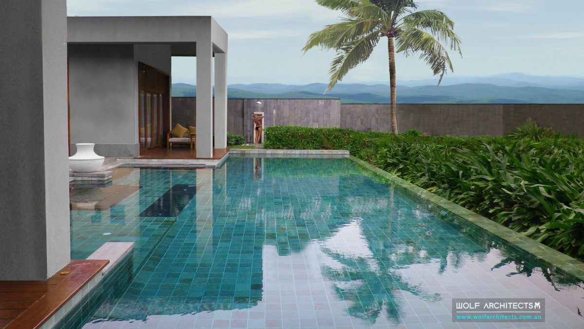Phuket resort pool design by Wolf Architects
