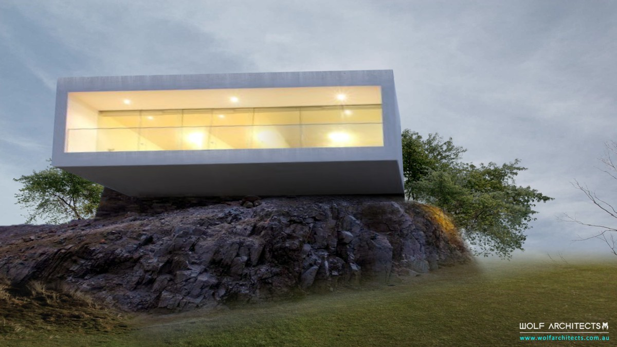 Modern contemproary Rock cliff house by Wolf Architects