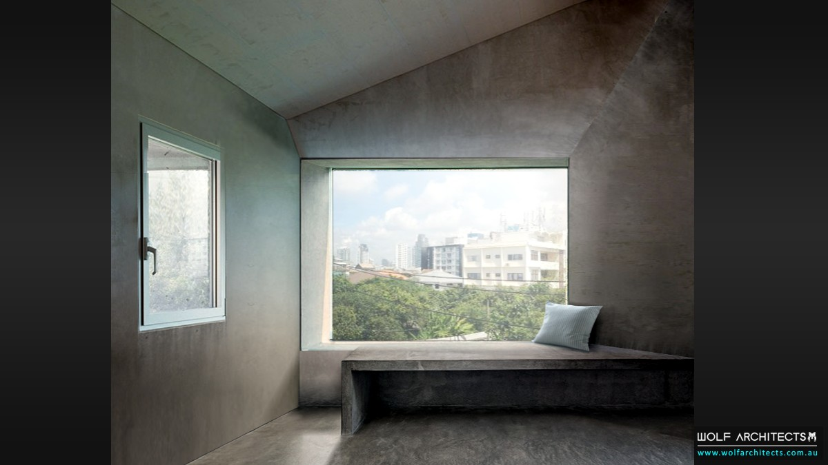 commercial office concrete bay window interior by Wolf Architects