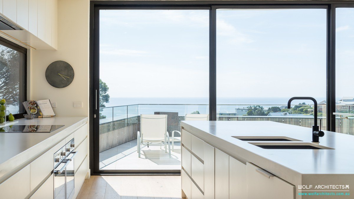 Mt Martha modern beach house kitchen by Wolf Architects