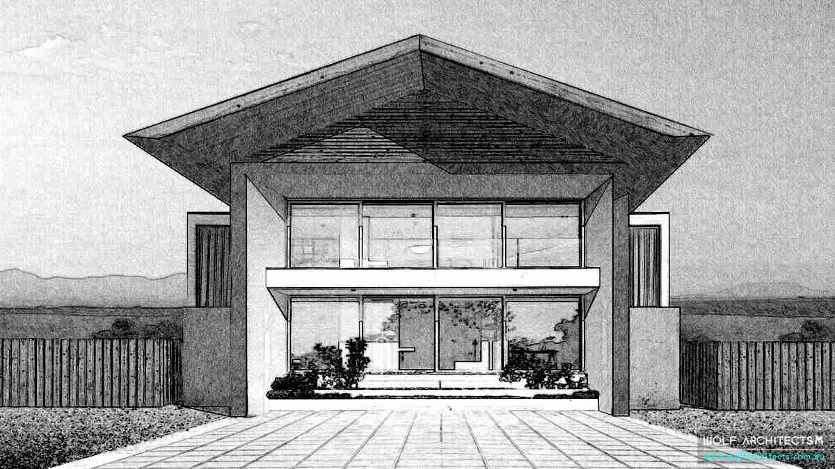 Beach house pencil concpet design drawing by Wolf Architects