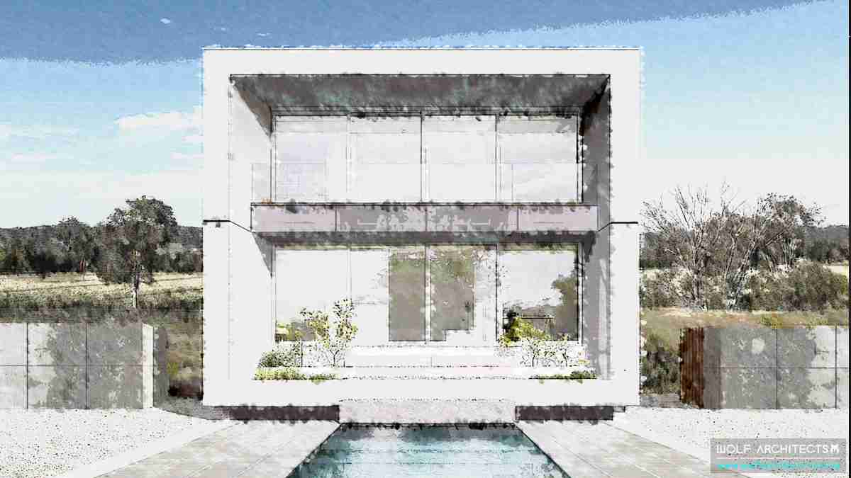 Beach house water colour design drawing by Wolf Architects