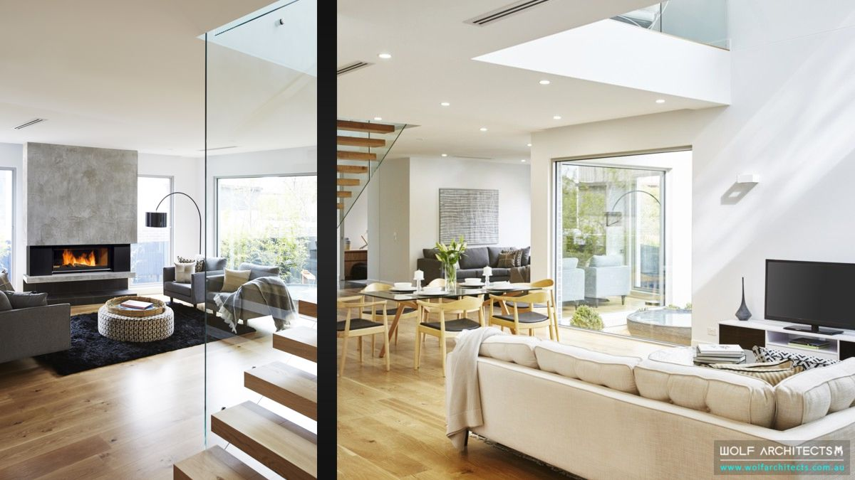 Third House modern contemporary open plan living by Wolf architects