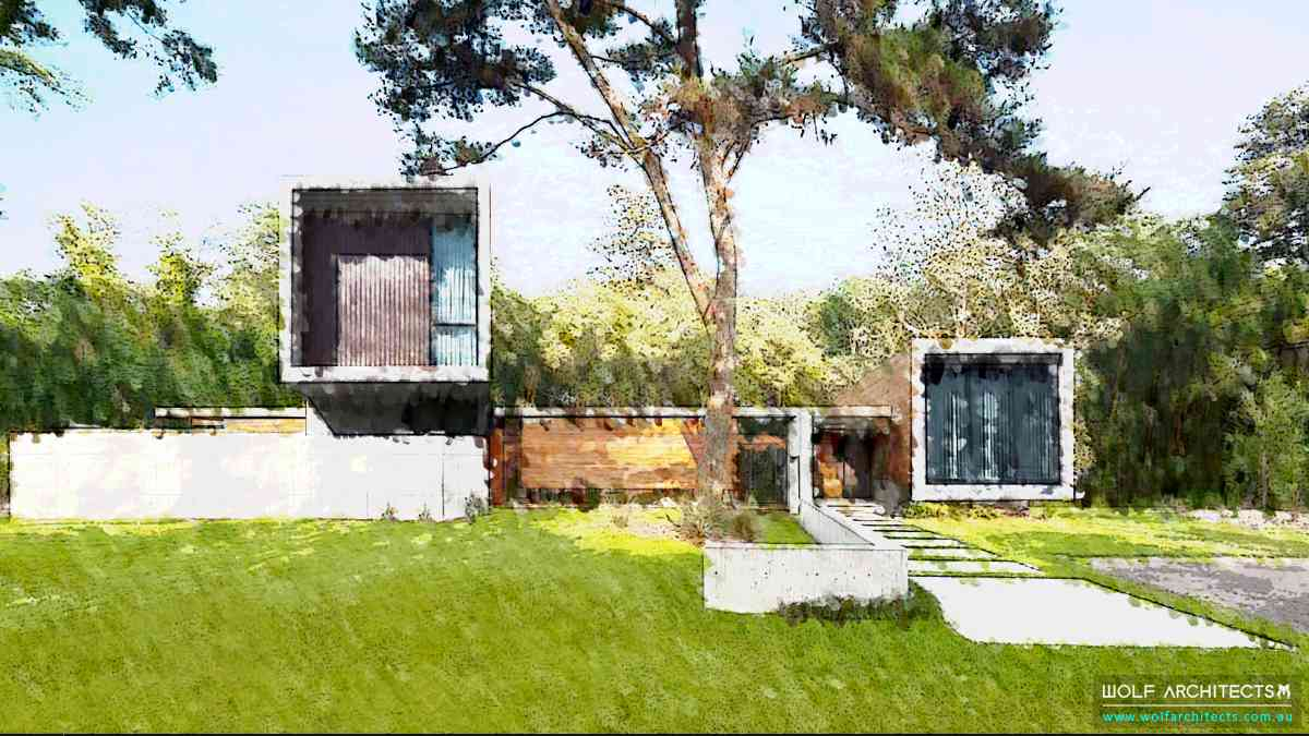 country block house water colour concept drawing by Wolf Architects