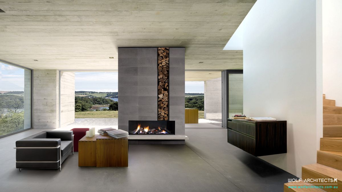 Lee House NZ modern concrete interior by Wolf Architects