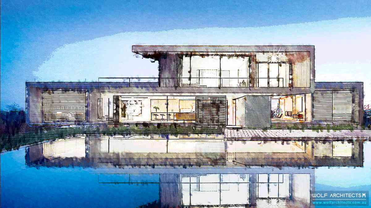 Lakehouse design concept Michigan USA by Wolf Architects