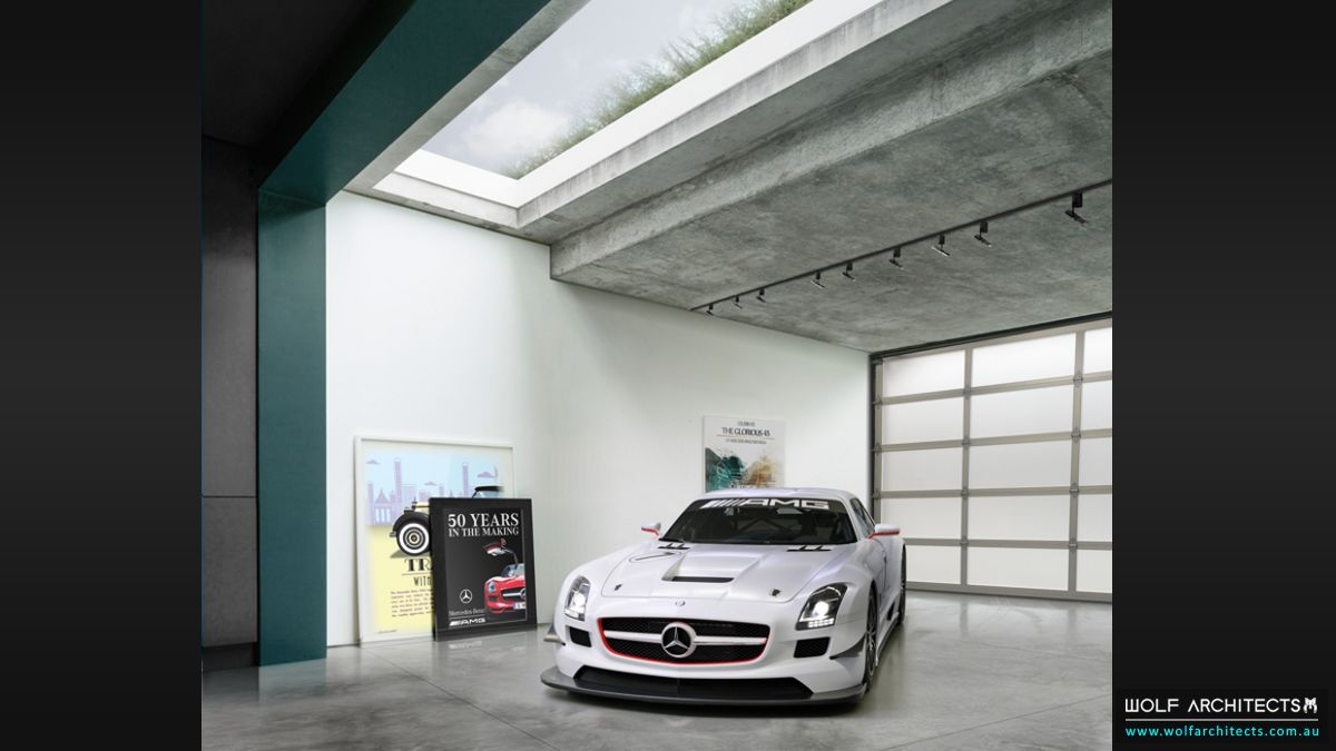 Bay View House modern showroom garage