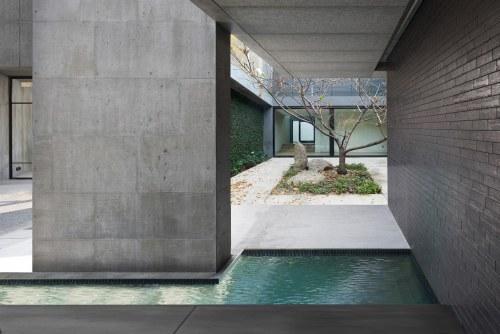 Concrete house courtyard