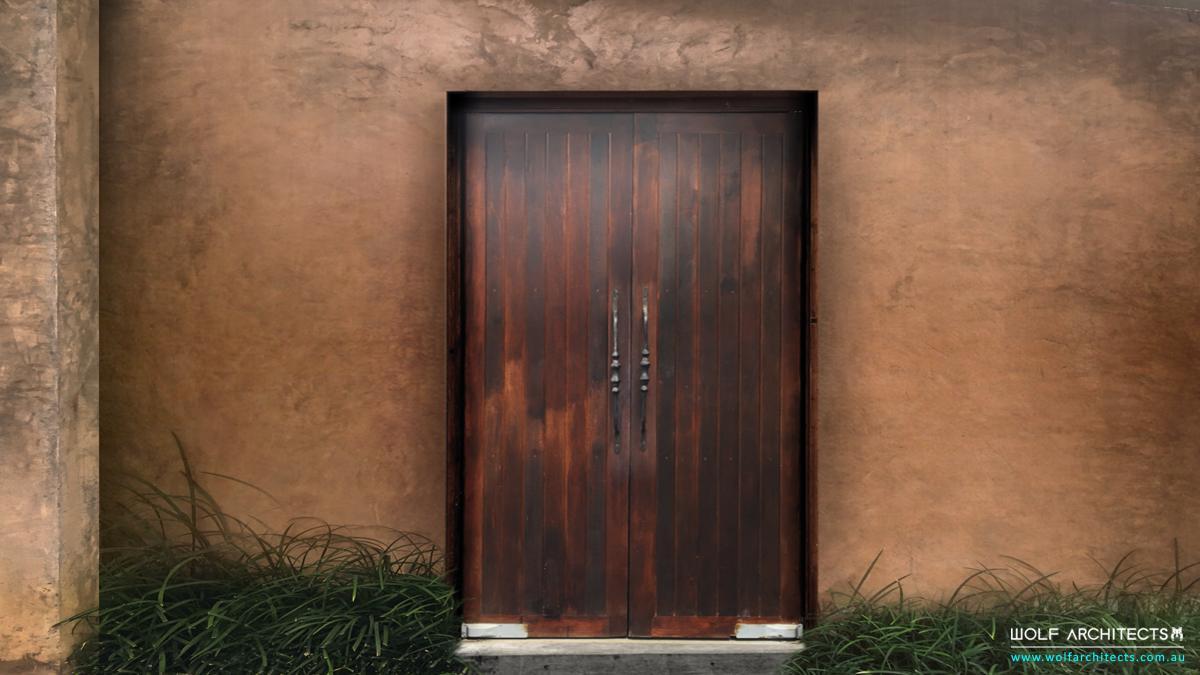 Modern Spanish Villa Rustic back door