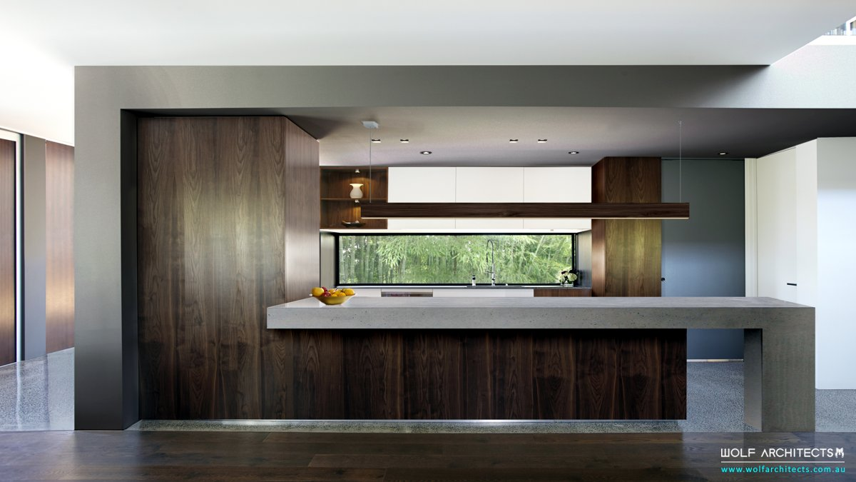 Modern contemporary house Walnut & Concrete Kitchen