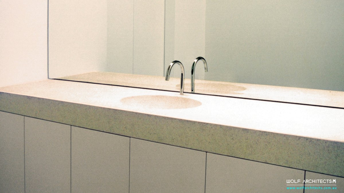 Minimalist vanity hand basin design in 1995