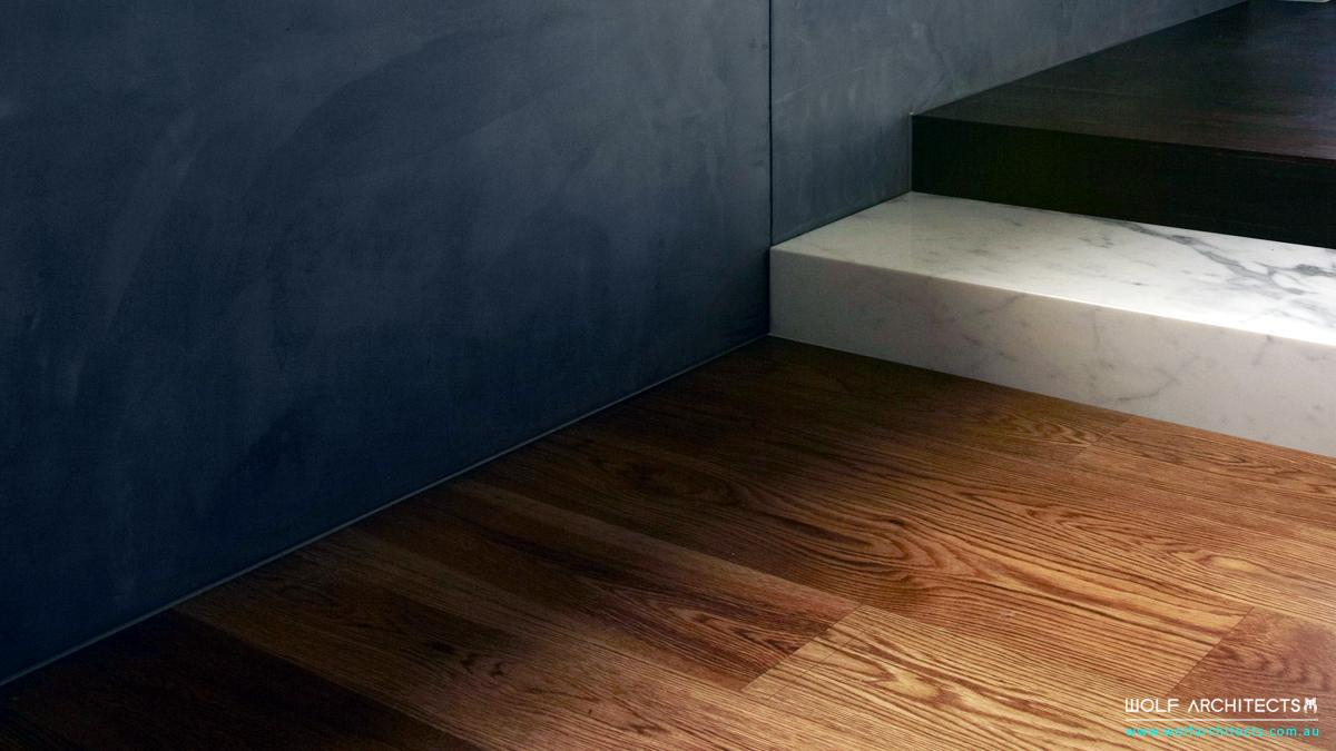 Modern floor details with Marble step