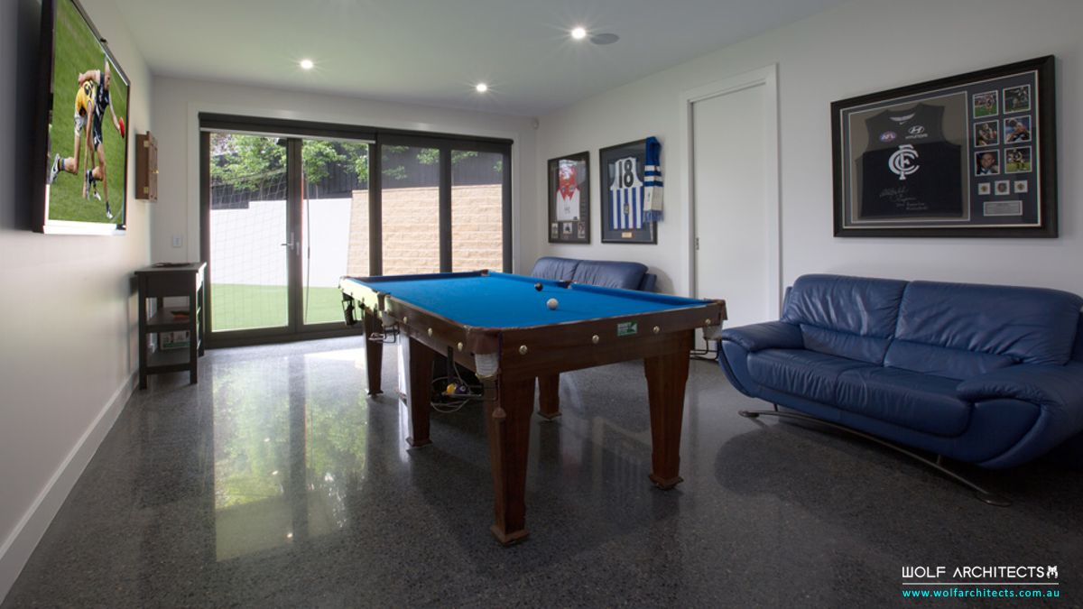games and pool room to studio house