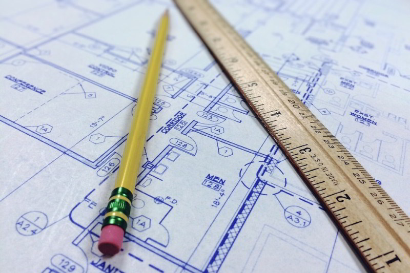 Ruler pencil and Blueprints