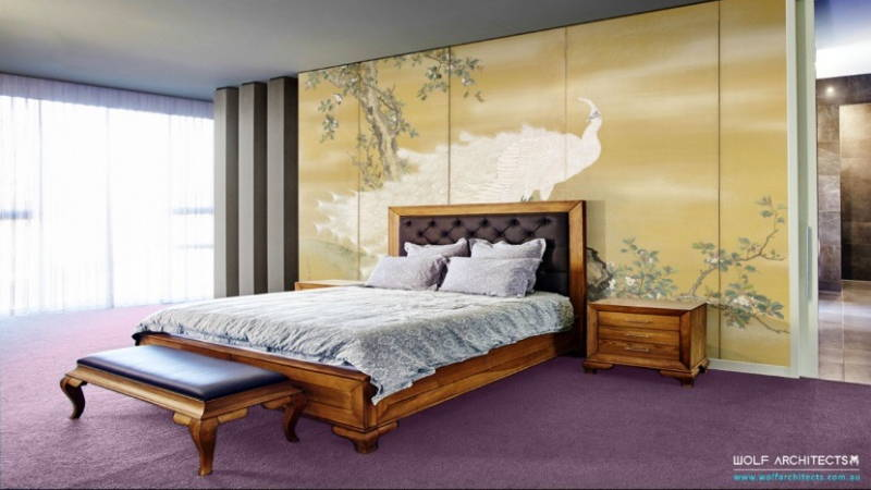 Asian style master bedroom