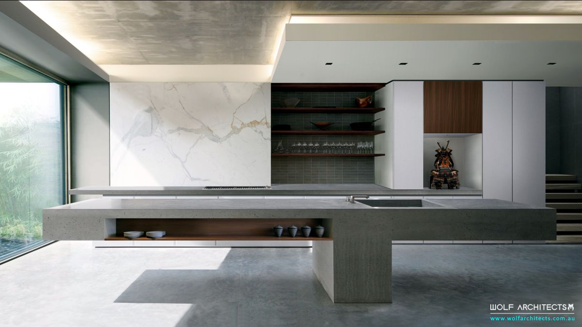 Bay view house concrete bench kitchen