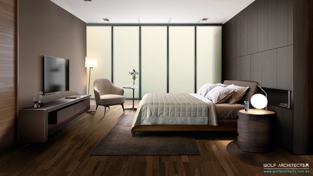 Frost glass house contemporary bedroom