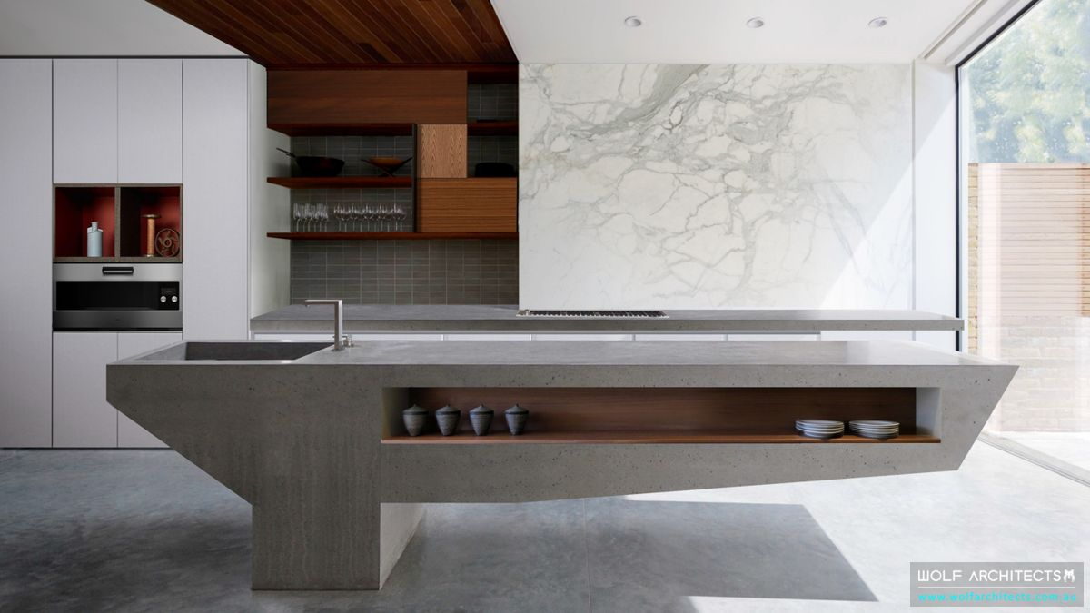Modern kitchen with floating concrete bench