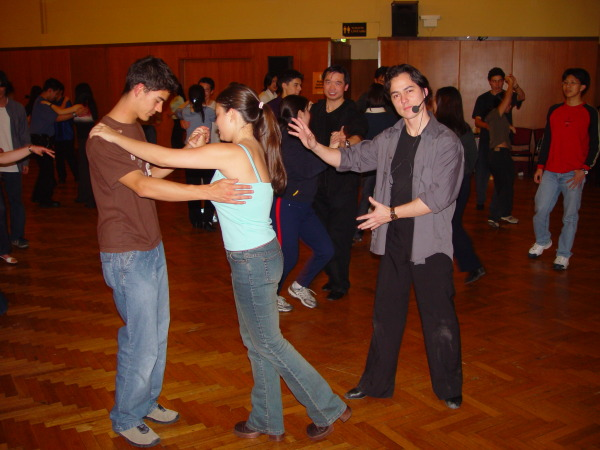 Taras teaching Univerity students how to dance