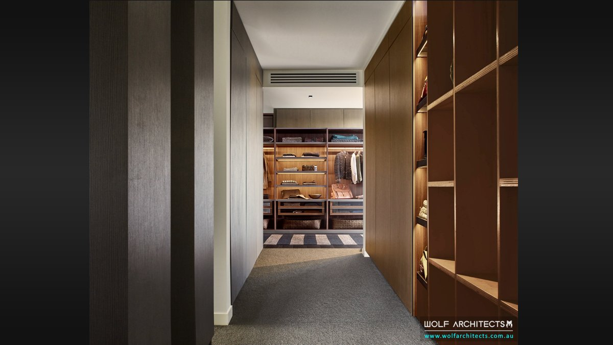 Two rock mansion bedroom walk in wardrobe