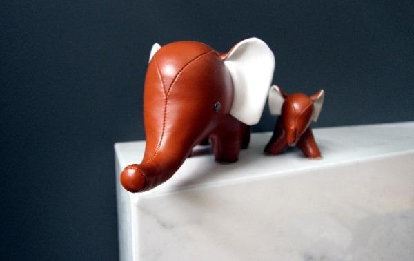Leather Elephants on ledge