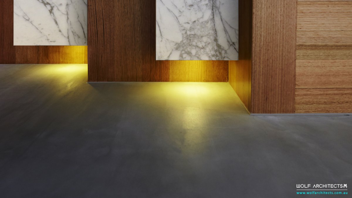 Marble feature step lights in HK house
