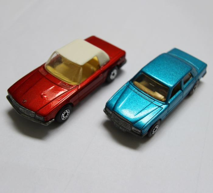 two matchbox Mercedes Benz cars from the 70s