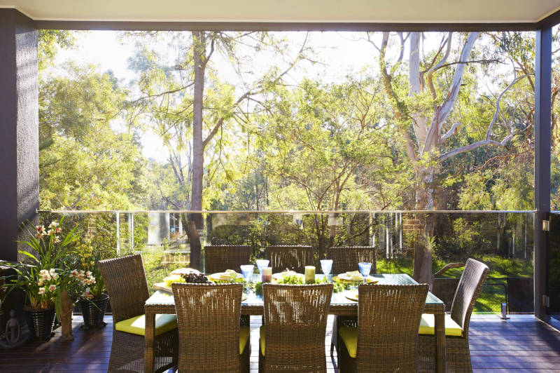 Outdoor dining view of trees