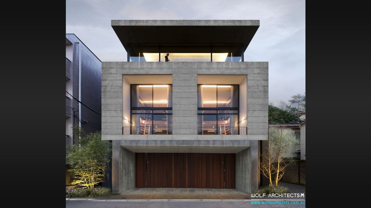 Contemporary Modern concrete town house office