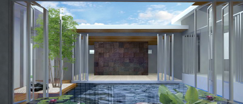 Courtyard fish pond view of entry feature wall